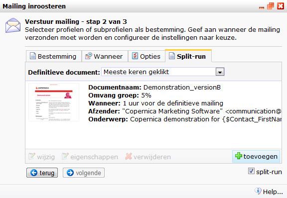 1586dd64a34485 In de bovenste helft van het split-run dialoogvenster staan de documenten  die worden gebruikt. Een mailing versturen